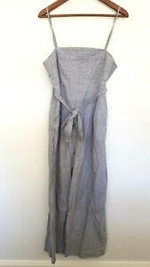 LINEN LUX Ladies Designer Grey/White Stripe Sleeveless Jumpsuit size L EUC