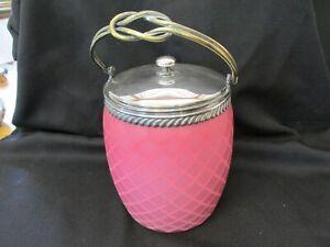 S38 VINTAGE ANTIQUE PINK OPALESCENT GLASS DIAMOND QUILT CRACKER JAR BAIL TOP