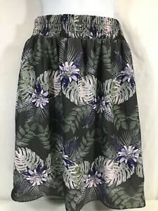 Massimo Women's Lightweight Bright Gray Floral Skirt Sz S/P Lined Polyester EUC