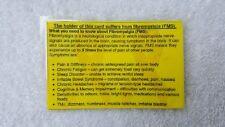 FIBROMYALGIA INFO/AWARENESS CARD,Yellow Alert,Personal,Medical,Charity Listing.