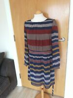 Ladies Dress Size 10 Blue Brown Chiffon Smart Party Evening Stripe