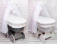 WICKER WHEELS MOSES BASKET BABY FULL BEDDING SET CANOPY DRAPE BOW HEARTS WHITE