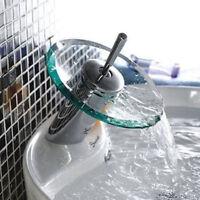 Bathroom Kitchen Basin Sink Copper Glass Waterfall Mixer Tap Faucet Garden Hot