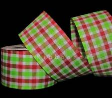 """10 Yards Christmas Red Grinch Green White Gingham Plaid Wired Ribbon 2 1/2""""W"""