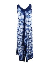 Style & Co Women's Printed Handkerchief-Hem Maxi Dress (XS, Beach Breeze Blue)