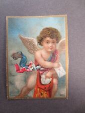 ANTIQUE Greetings Card CUPID Putti Delivering Letters Victorian CHROMO LITHO