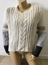 VICTORIAS SECRET Womens Size Medium Chunky Cable Knit Hi Low Long Sleeve Sweater