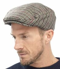 Tom Franks Mens Checked Wool Mix Tweed Flat Cap