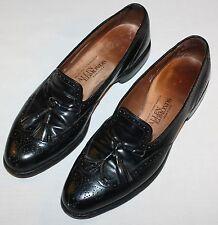 Allen Edmonds Auburn Shoes Mens 10 A Black Wingtip Comfort Tassel Loafers