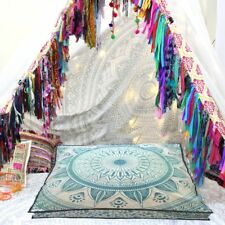 Blue Ombre  Mandala Dog Bed Pet Ottoman Pouf Cover Floor Pillow Square 35X35