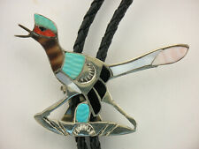 Superb Zuni Edward A. Beyuka,Roadrunner Bolo Carved Stones Mosaic Inlay 1950-60