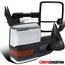 For 2003-2007 Silverado Sierra Chrome Power Heated Tow Mirrors+Amber LED Signal