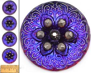 22mm Czech Glass Purple Blu AB Silv LOTUS FLOWER  SHANKLESS Button Cabochons 4pc