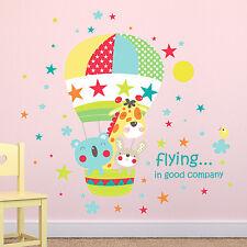Géant girafe hot air balloon ride autocollants muraux enfants meilleure chambre décorations