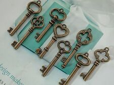 (Lot of 8 ) Mixed Antique Bronze Color Vintage Style Key Charms Pendant
