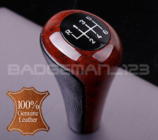 BMW MANUAL WOOD & LEATHER 6 SPEED GEAR KNOB SHIFT E46 E87 E90 E91 E92 E93 E60 Z4