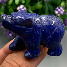 "2.0"" Natural Lapis lazuli quartz hand carved mini bear crystal reiki healing 1pc"