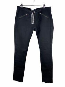 Forever New NWT Stretch Denim Jeans Womens Size 14 Black High Waist Zip Close