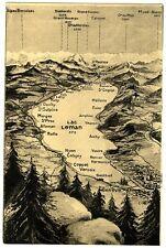 CPA 74 Haute-Savoie Carte géographique Lac Léman