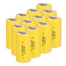 12 X 1.2V 2200mAh Ni-Cd Rechargeable Sub C Batteries SC with Tab Battery Yellow