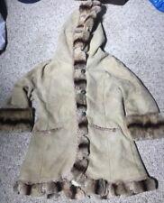Shearling Tan Beige Jacket Coat Hooded Studded Faux Fur by Sued Mod
