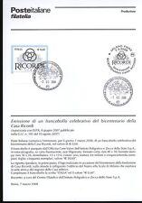 ITALIA 2008 CASA RICORDI  BOLLETTINO COMPLETO DI FRANCOBOLLI ANNULLO FDC