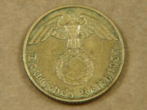 1937-J Germany 5 Pfennig Nazi Swastika Coin
