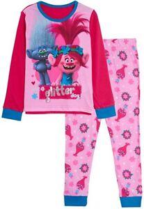 Girls Trolls Long Pyjamas Kids Poppy Full Length Pjs Nightwear Loungewear