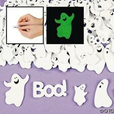 30 Ghost Boo Halloween Glow In Dark Stickers Shapes 1""