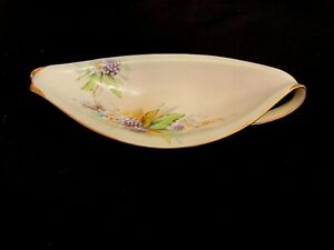 Unique Limoges Hand Painted Trinket Dish with Berries an Swirled Handles Signed