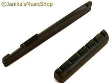 Acoustic guitar black plastic B compensated bridge saddle and end nut