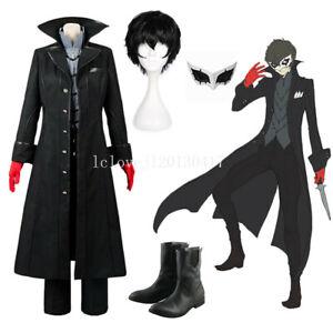 Cosplay Anime Persona 5 Joker Protagonist Wig Shoes Halloween Costume Jacket