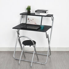 Space-Saving Fold Away Computer PC Desk Laptop Table Chair Set Home Office