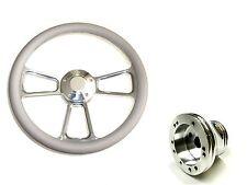 "EZ-GO Polaris Ranger 14"" Billet & Gray Steering Wheel Includes Horn & Adapter"