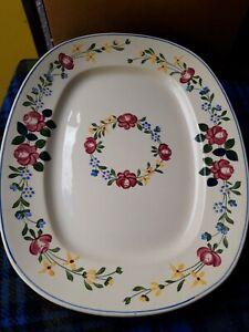 Antique Sarreguemines Piccola serving platter 42cm  Made in France Floral