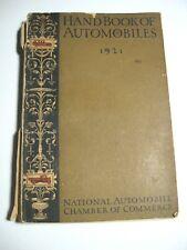1921 Handbook of Automobiles Hand Book Cadillac Packard Buick Auburn Softcover