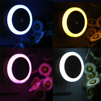 Round Ring Auto LED Night Bed Light Induction Closet EU US Lamp Plug-in Gifts LN