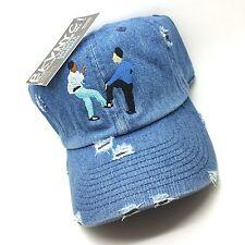 Denim Distressed Kid N Play 90s Vtg Style Denim Dad Cap Hat