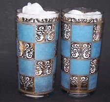 Culver High Ball Glass Prado Turquoise Blue Gold Scroll Squares Barware Tumblers