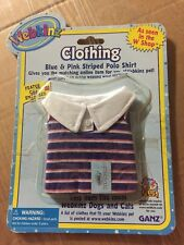 Webkinz Clothing Blue & Pink Striped Polo Shirt With Online Code From Ganz Plush