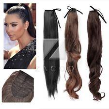 Cheveux Extension Femme Perruque Queue de Cheval Long Attaché Droit & Bouclé