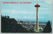 Mt Rainier Washington~Birds Eye View Of Space Needle~Vintage Postcard