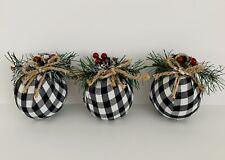 FARMHOUSE WHITE BUFFALO PLAID BALL Christmas Tree Ornaments Set 3