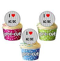 I Love AC / DC - 24 Edible Cupcake Toppers Cake Decorations - Precut Circles