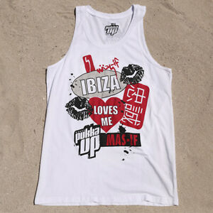 Pukka Up Ibiza Mens Tank Top Muscle Vest White Best Bits Mas-If RRP £40 OFFICIAL