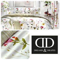Dreams & Drapes SPRING GLADE Floral Bedding & Pencil Pleat Curtains White Green