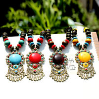 Vintage Ethnic Style Jewelry Long Necklace Dance Pendant Wood Bead Sweater Chain