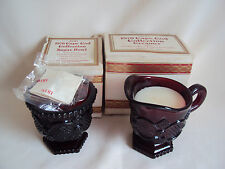VINTAGE AVON RUBY RED GLASS CAPE COD SUGAR AND CREAMER SET IN BOX