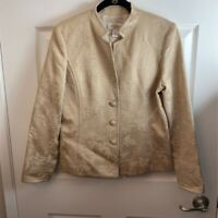 Talbots Womens Blazer Jacket Silk Blend Metallic Floral Three Button Textured 6
