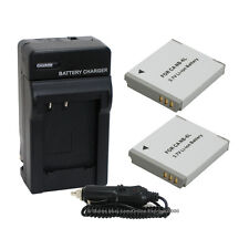 2 NB-6L NB6L Battery + Charger for Canon PowerShot SD770 SD980 SD1200 SD1300 IS
